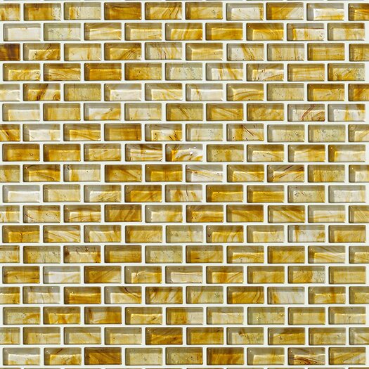 """Shaw Floors Glass Expressions 12"""" x 13"""" Glass Mosaic Tile in Amber"""