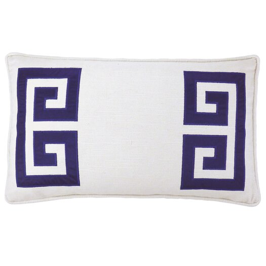 Parenthetikey Embroidered Greek Key Throw Pillow