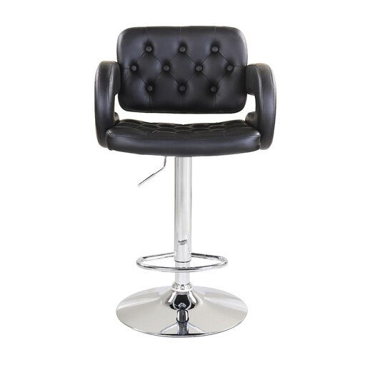 Zina Adjustable Height Swivel Bar Stool with Cushion (Set of 2)