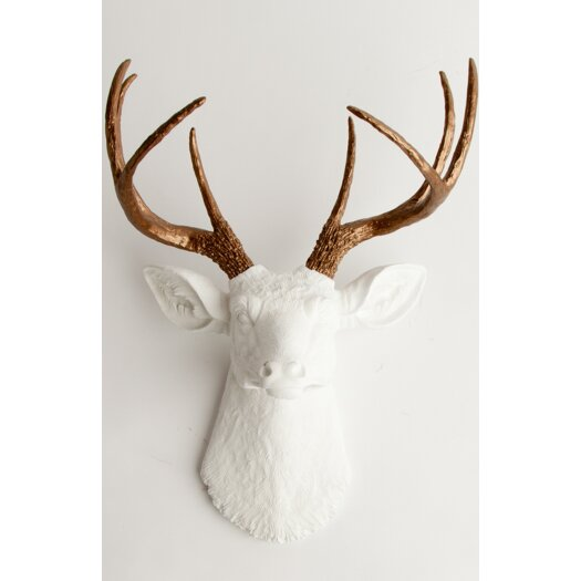 white faux taxidermy the lydia deer head wall d cor allmodern. Black Bedroom Furniture Sets. Home Design Ideas