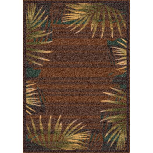 Milliken Modern Times Palm Brown Leather Area Rug