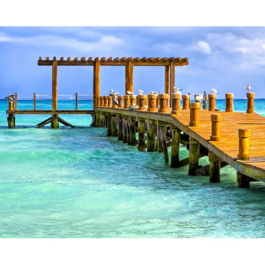 Overlooking a Pier on The Caribbean Sea Photographic Print on Canvas