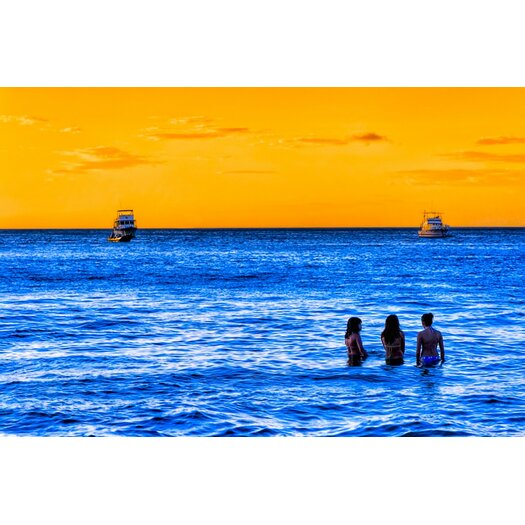 Women of the Blue Sea Costa Rica Seascape Photographic Print on Canvas