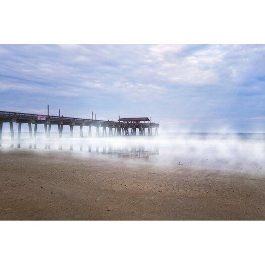 Misty Waters Around Tybee Island Pier Photographic Print on Canvas