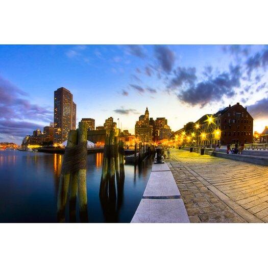 Sunset on Boston's Long Wharf Photographic Print