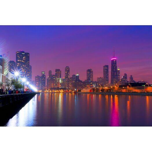 Chicago Skyline as Night Falls Photographic Print
