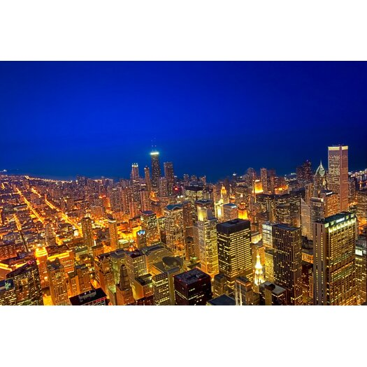 Golden Valleys Chicago Aerial View at Dusk Photographic Print on Canvas