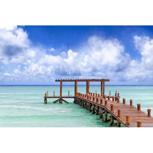 Beautiful Caribbean Sea Pier - Playa Del Carmen Photographic Print on Canvas