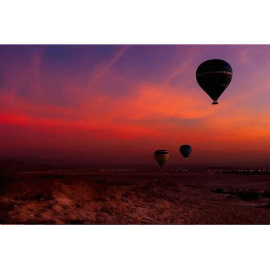 Hot Air Balloon Over Egyptian Valley of The Kings at Sunset Frame Photographic Print