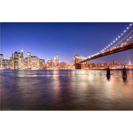 The City Lights of Manhattan Brooklyn Bridge Photographic Print on Canvas