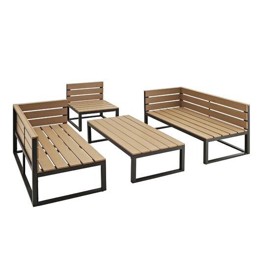 Home Loft Concept 4 Piece Deep Seating Group With Cushions