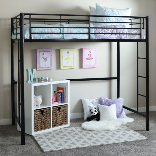 Home Loft Concepts Metal Twin Loft Bed with Built-In Ladder