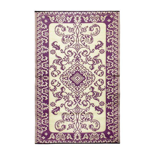 Koko Company Classic Violet & Ivory Outdoor Area Rug