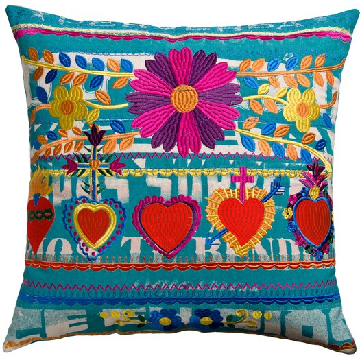 Koko Company Mexico Hearts Print Cotton Throw Pillow