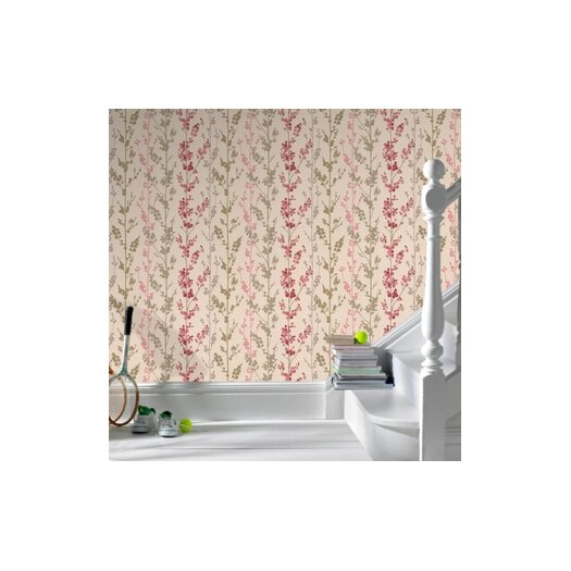 """Graham & Brown Serenity Berries Trail 33' x 20.5"""" Floral and Botanical Foiled Wallpaper"""