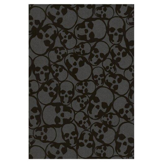 Graham & Brown Barbara Hulanicki Flock Skulls Abstract Flocked Wallpaper