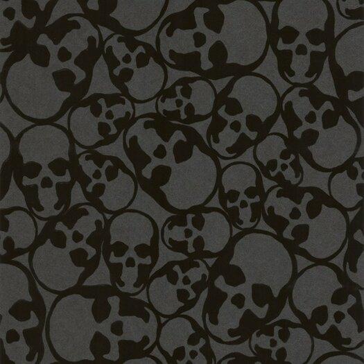 Graham & Brown Barbara Hulanicki Flock Skulls Flocked Wallpaper