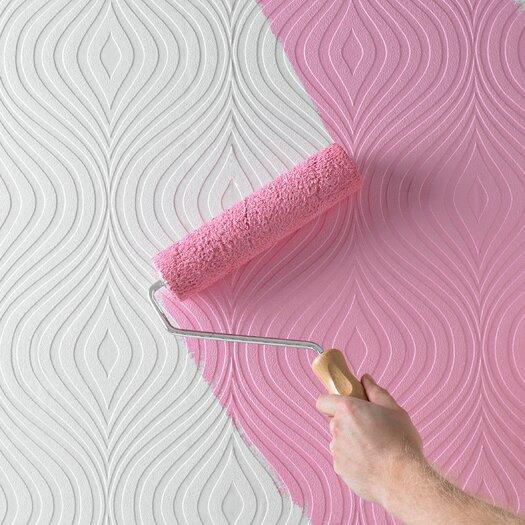 "Graham & Brown Paintable Curvy 32.8' x 20.5"" Geometric Embossed Wallpaper"