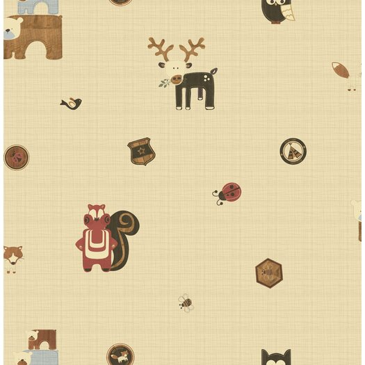 """Graham & Brown Forager Woodland Critters 33' x 20"""" Wallpaper"""