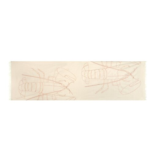 Scrimshaw Lobster Embroidered Scarf