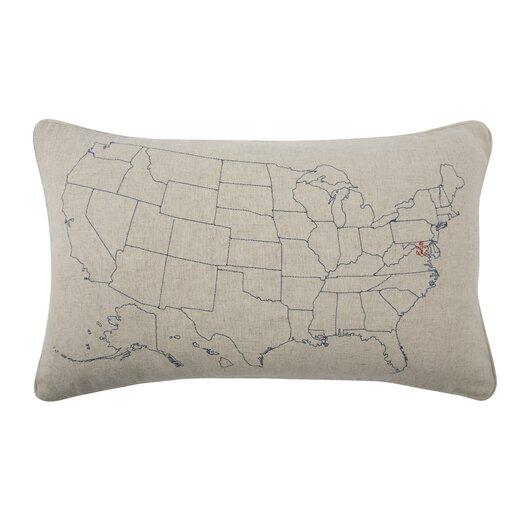 Embroidered USA Flax Lumbar Pillow