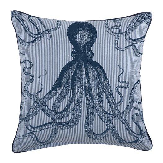 Octopus Seersucker Cotton Throw Pillow
