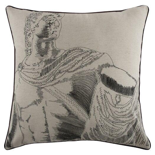Grand Tour Roma Embroidered Flax Throw Pillow