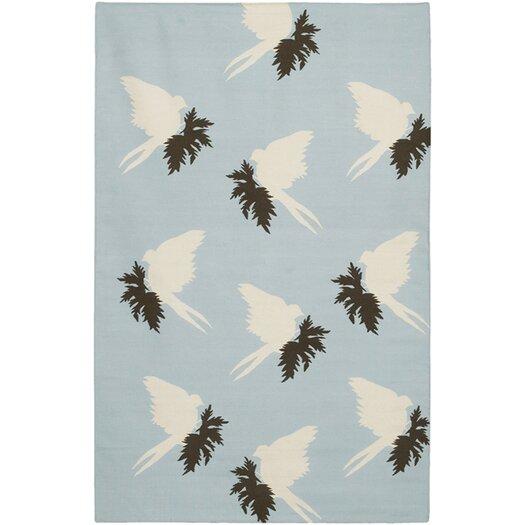 Thomas Paul Flat-weave Dhurrie Area Rug Blue/Cream Swallows Area Rug
