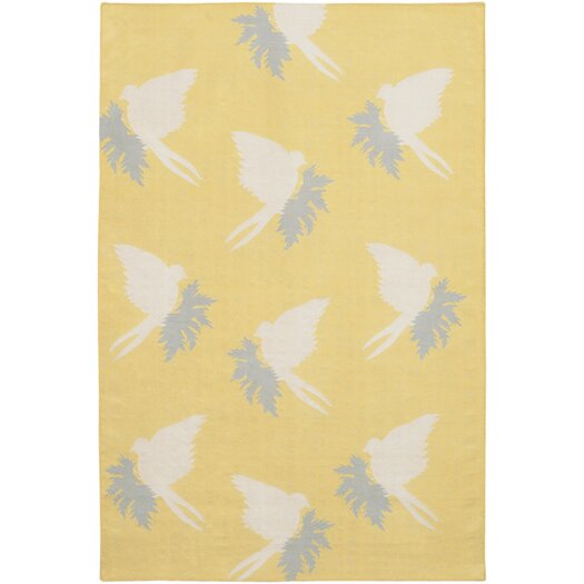 Thomas Paul Flatweave Dhurrie Area Rug Yellow/Cream Swallows Area Rug