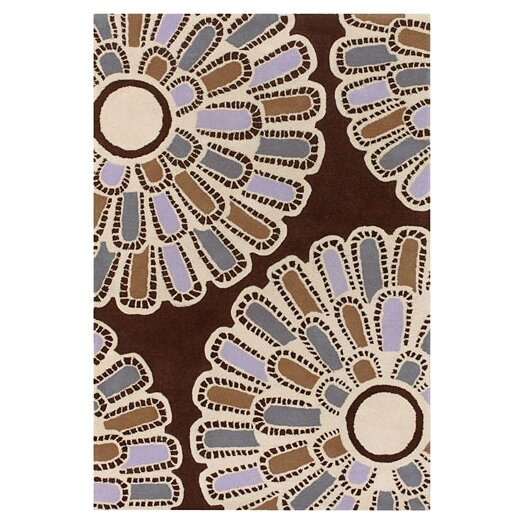 Tufted Pile Chocolate/Lilac Flora Rug