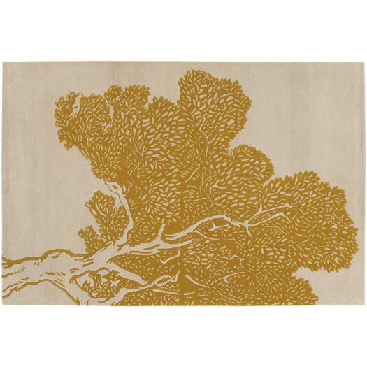 Tufted Pile Yellow/Cream Tree Rug
