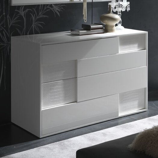 Rossetto USA Nightfly 6 Drawer Dresser with Mirror