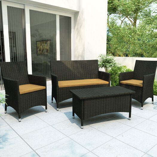 dCOR design Cascade 4 Piece Lounge Seating Group with Cushions
