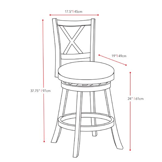 "dCOR design Woodgrove 24"" Swivel Bar Stool with Cushion"