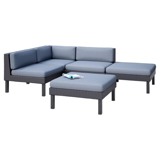 dCOR design Oakland 5 Piece Lounge Seating Group with Cushions
