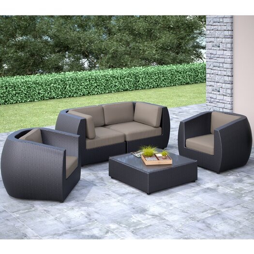 dCOR design Seattle 5 Piece Lounge Seating Group with Cushions