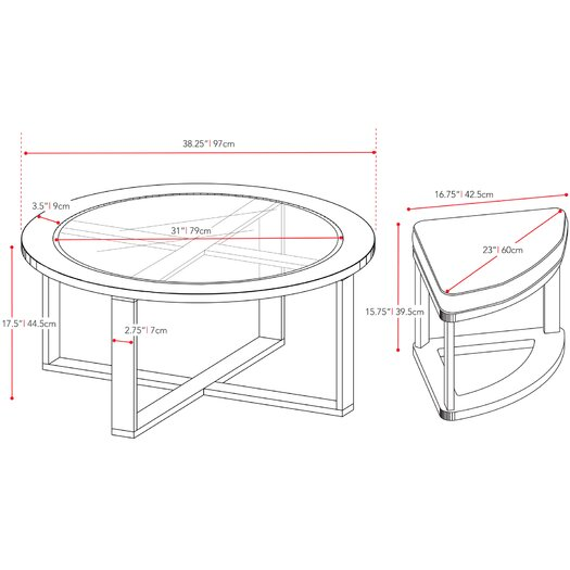 dCOR design Belgrove Coffee Table with 4 Stools