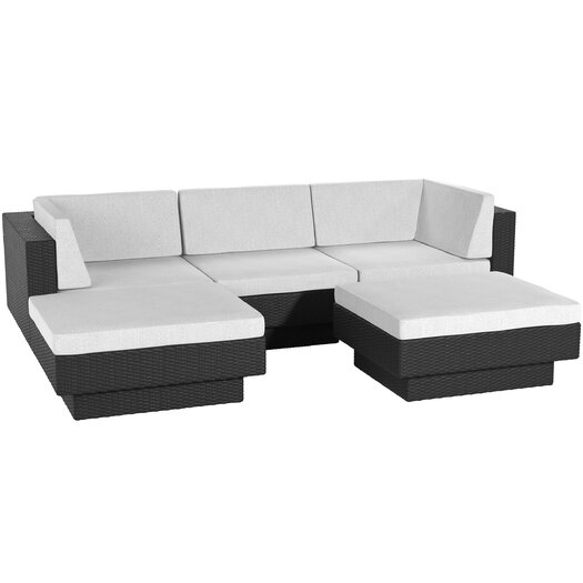 dCOR design Park Terrace 5 Piece Deep Seating Grouping With Cushions