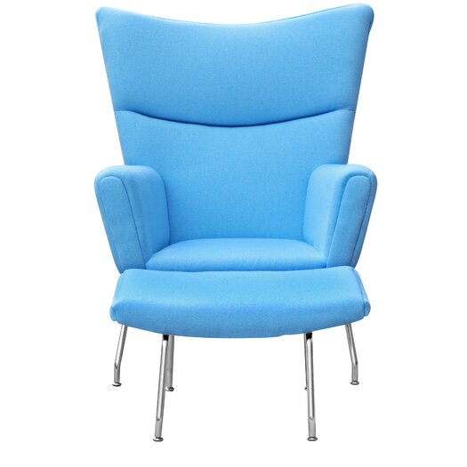 Wing Lounge Chair and Ottoman Set