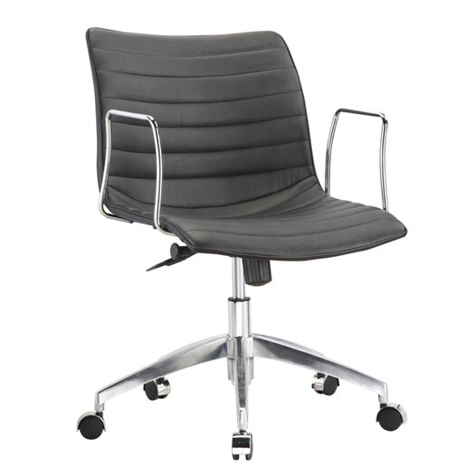 Comfy Mid-Back Leather Office Chair with Arms