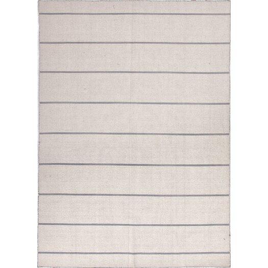 Jaipur Rugs C. L. Dhurries Ivory & Gray Stripe Area Rug