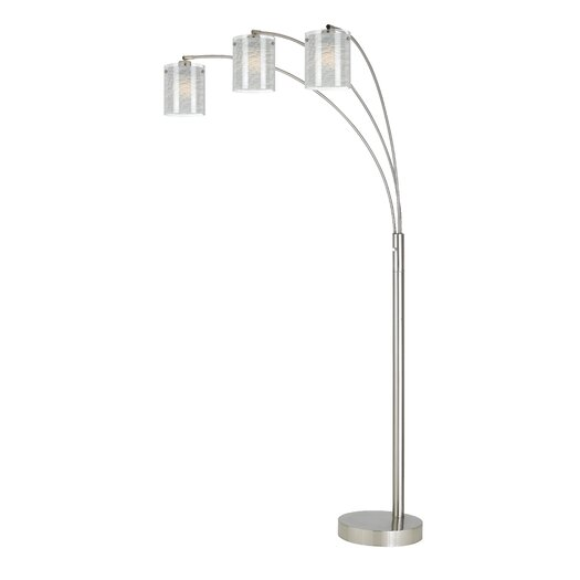 Cal lighting 3 light arc floor lamp with glass shade for Arc floor lamp glass shade