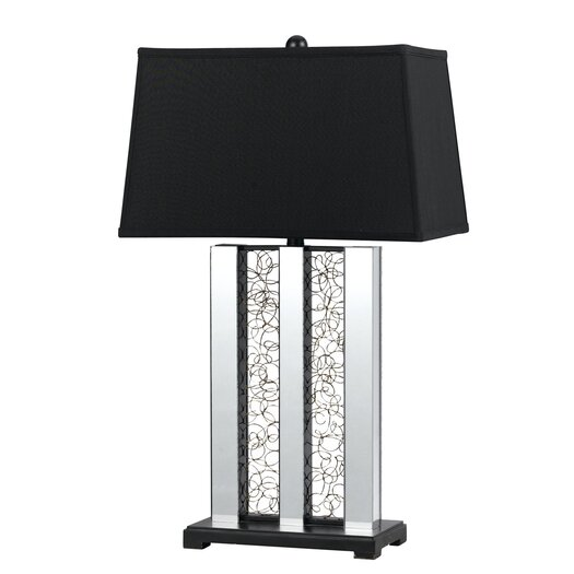 "Cal Lighting Mirrored 30.5"" H Table Lamp with Rectangular Shade"