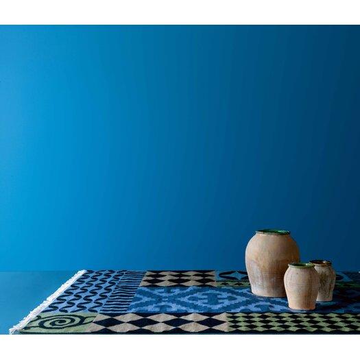 GAN RUGS Kilim Siracusa Blue Ikat Area Rug