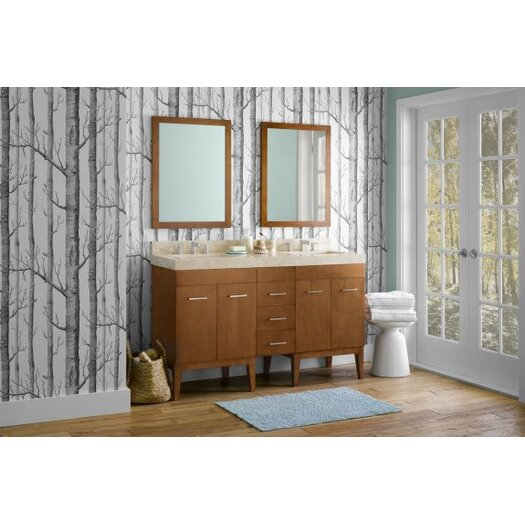 Ronbow Contemporary Solid Wood Framed Bathroom Mirror in Cinnamon