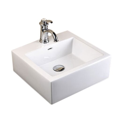 Ronbow Ceramic Square Vessel Bathroom Sink with Overflow