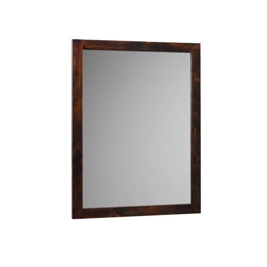 Ronbow Contemporary Solid Wood Framed Bathroom Mirror in Vintage Walnut