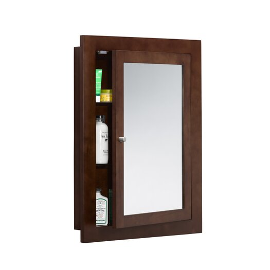 """Ronbow Neo-Classic 24"""" x 32"""" Solid Wood Framed Medicine Cabinet in Dark Cherry"""