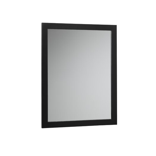 Ronbow Contemporary Solid Wood Framed Bathroom Mirror in Antique Black