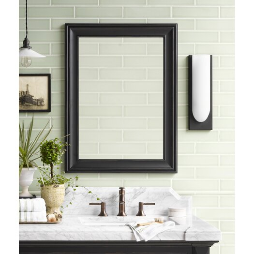 """Ronbow Traditional 24"""" x 32"""" Solid Wood Framed Bathroom Mirror in Antique Black"""